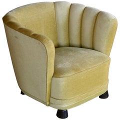 Danish 1940s Boesen Banana Style Curved Tub Club Chair