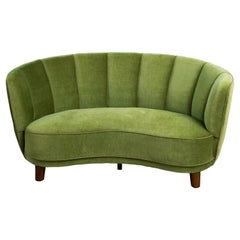 Danish 1940s Boesen Style Banana Form Curved Sofa or Loveseat in Green Mohair