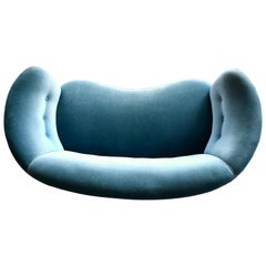 Danish 1940s Boesen Style Banana Form Curved Sofa or Loveseat in Teal Velvet