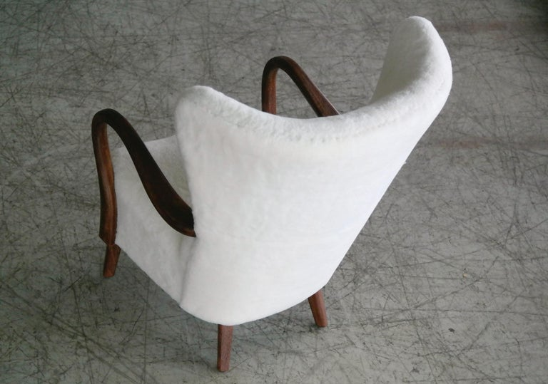 Danish 1940s Easy Chair in Lambswool with Open Armrests by Alfred Christensen For Sale 5