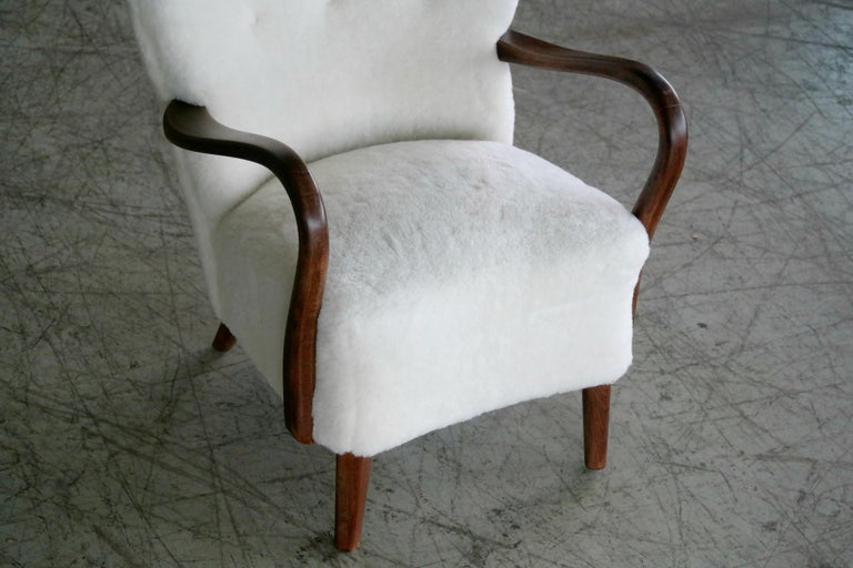 Mid-20th Century Danish 1940s Easy Chair in Lambswool with Open Armrests by Alfred Christensen For Sale