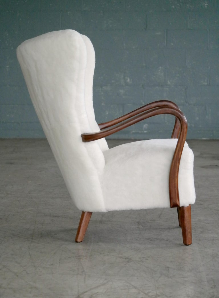 Beech Danish 1940s Easy Chair in Lambswool with Open Armrests by Alfred Christensen For Sale