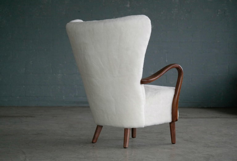 Danish 1940s Easy Chair in Lambswool with Open Armrests by Alfred Christensen For Sale 1