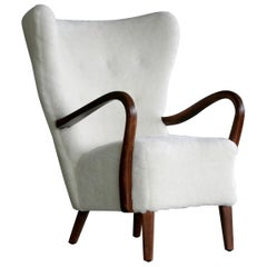 Danish 1940s Easy Chair in Lambswool with Open Armrests by Alfred Christensen