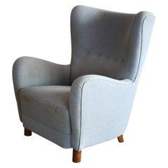 Danish 1940s Erik Wørts Attributed Overstuffed Highback Lounge Chair
