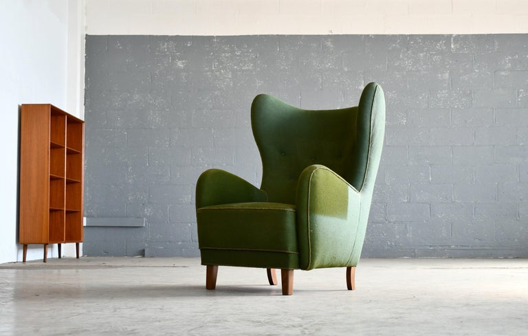 Danish 1940s Flemming Lassen Attributed High Back Lounge Chair 4