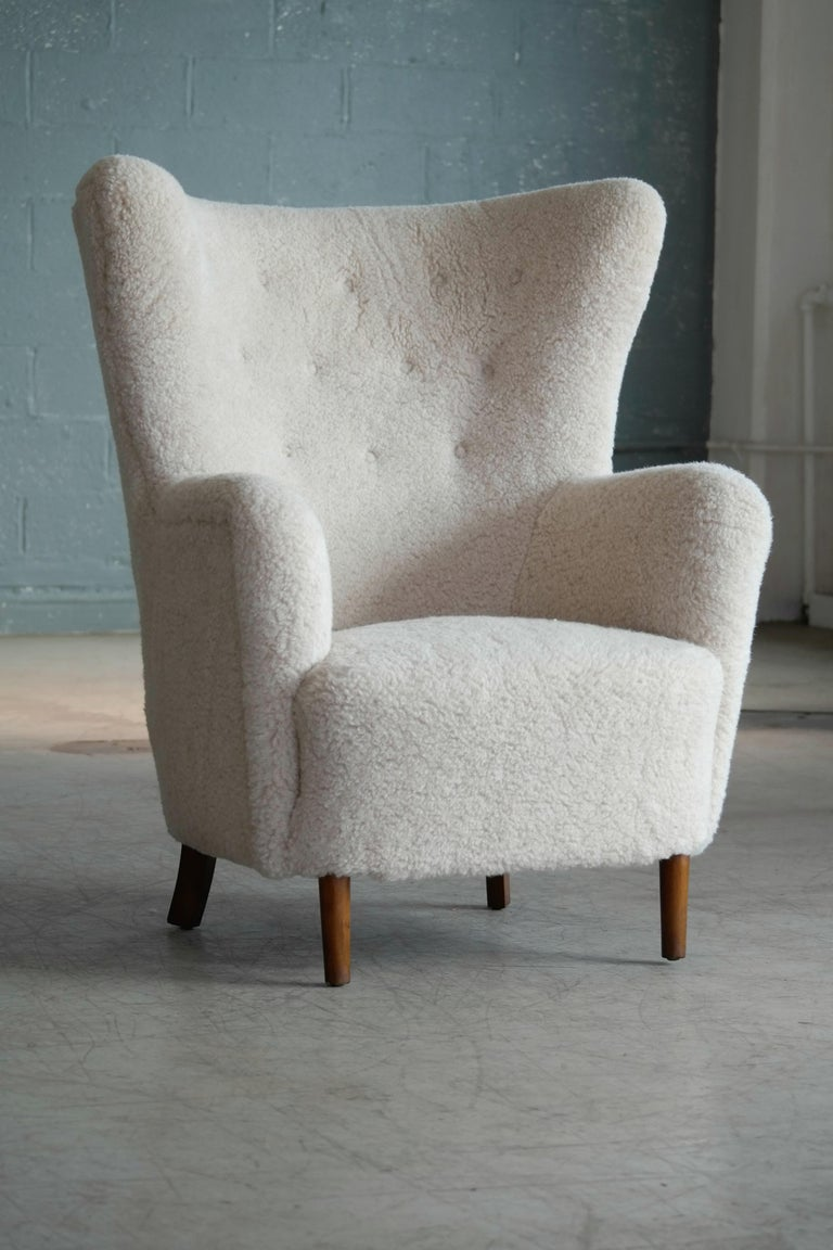 Danish 1940s Flemming Lassen Attributed High Back Lounge Chair 5