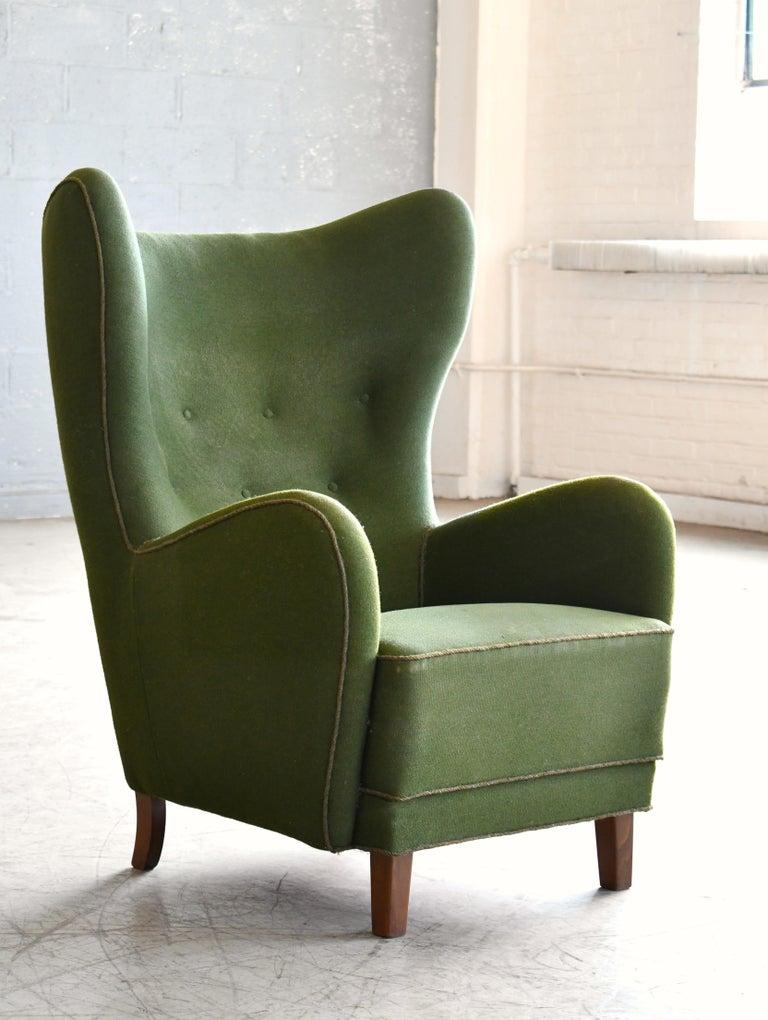 Mid-Century Modern Danish 1940s Flemming Lassen Attributed High Back Lounge Chair
