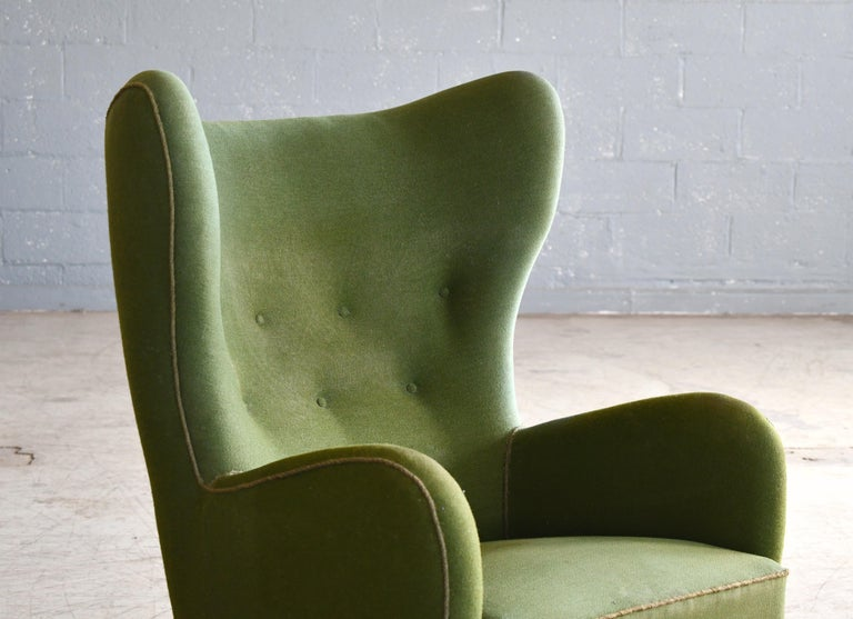 Danish 1940s Flemming Lassen Attributed High Back Lounge Chair In Good Condition In Bridgeport, CT