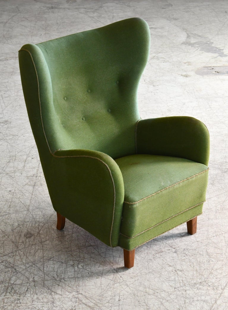 Mid-20th Century Danish 1940s Flemming Lassen Attributed High Back Lounge Chair
