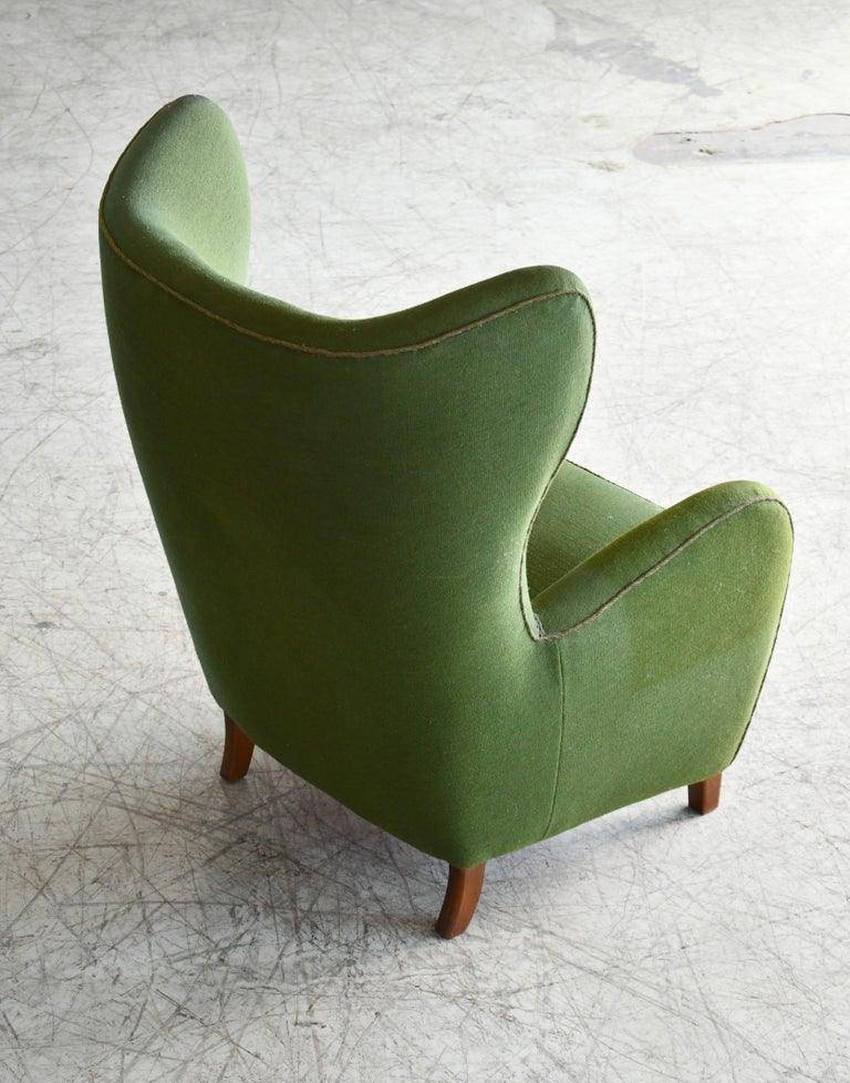 Wool Danish 1940s Flemming Lassen Attributed High Back Lounge Chair