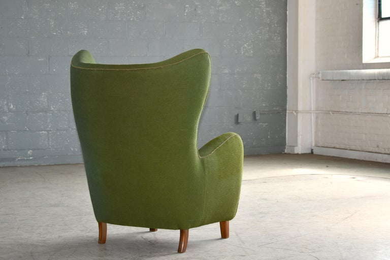 Danish 1940s Flemming Lassen Attributed High Back Lounge Chair 1