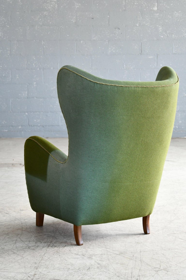 Danish 1940s Flemming Lassen Attributed High Back Lounge Chair 3