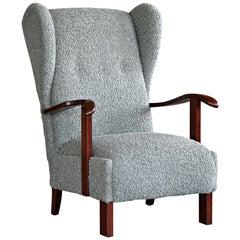 Danish 1940s Fritz Hansen Model 1582 Wingback Lounge Chair in Grey Boucle