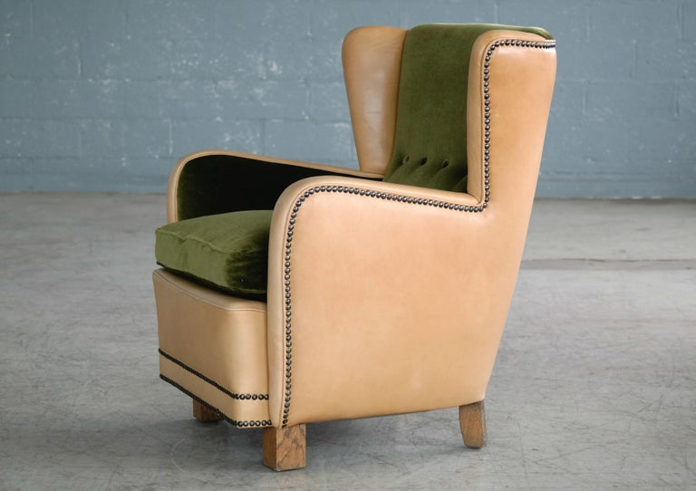 Danish 1940s Fritz Hansen Style Club Chair in Tan Leather with Green Velvet For Sale 4