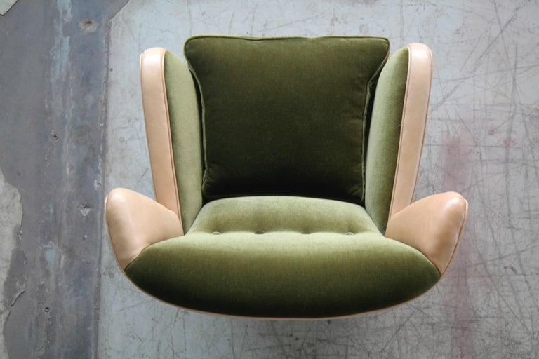 Danish 1940s Fritz Hansen Style Club Chair in Tan Leather with Green Velvet For Sale 5