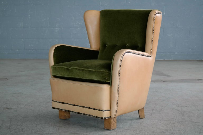 Danish 1940s Fritz Hansen Style Club Chair in Tan Leather with Green Velvet For Sale 6