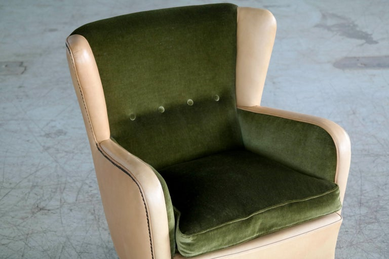 Mid-Century Modern Danish 1940s Fritz Hansen Style Club Chair in Tan Leather with Green Velvet For Sale