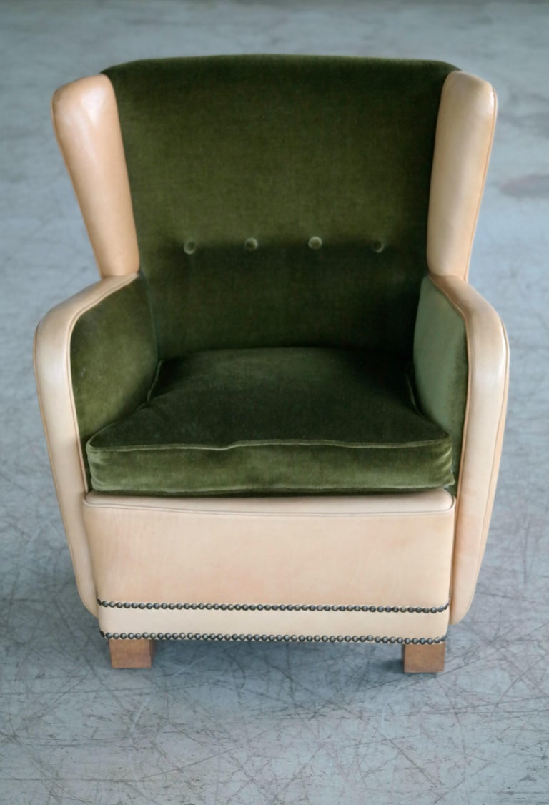 Danish 1940s Fritz Hansen Style Club Chair in Tan Leather with Green Velvet In Good Condition For Sale In Bridgeport, CT
