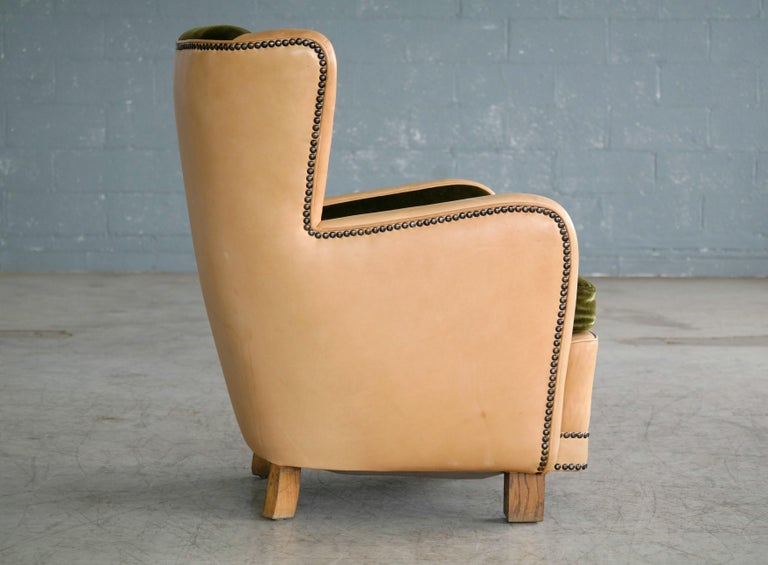 Mid-20th Century Danish 1940s Fritz Hansen Style Club Chair in Tan Leather with Green Velvet For Sale