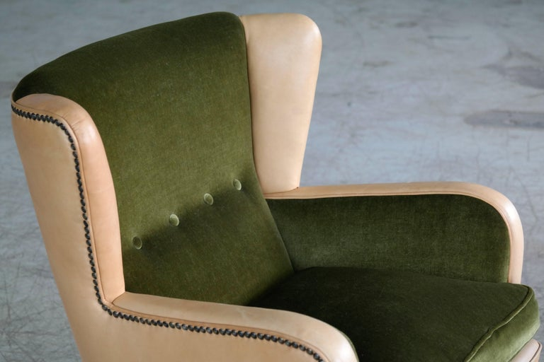 Brass Danish 1940s Fritz Hansen Style Club Chair in Tan Leather with Green Velvet For Sale