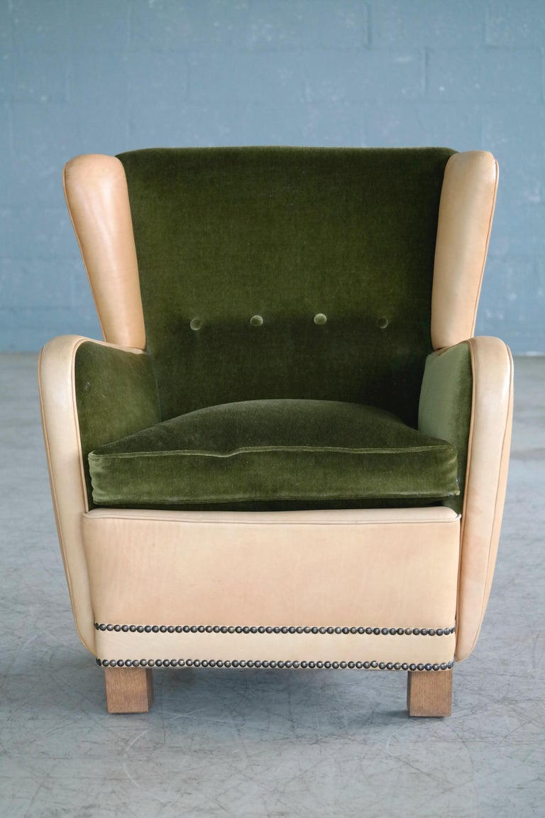 Danish 1940s Fritz Hansen Style Club Chair in Tan Leather with Green Velvet For Sale 1