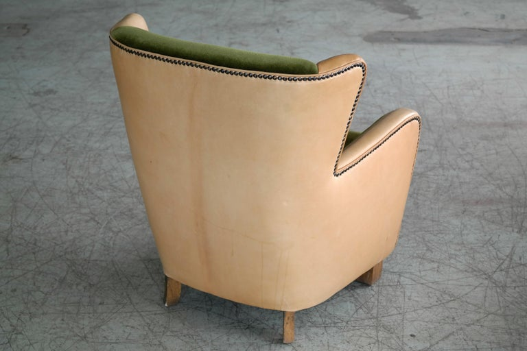 Danish 1940s Fritz Hansen Style Club Chair in Tan Leather with Green Velvet For Sale 2