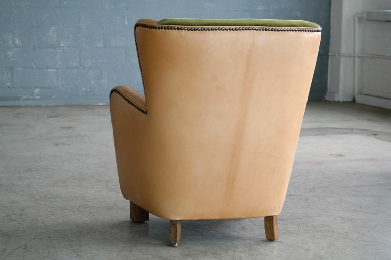 Danish 1940s Fritz Hansen Style Club Chair in Tan Leather with Green Velvet For Sale 3