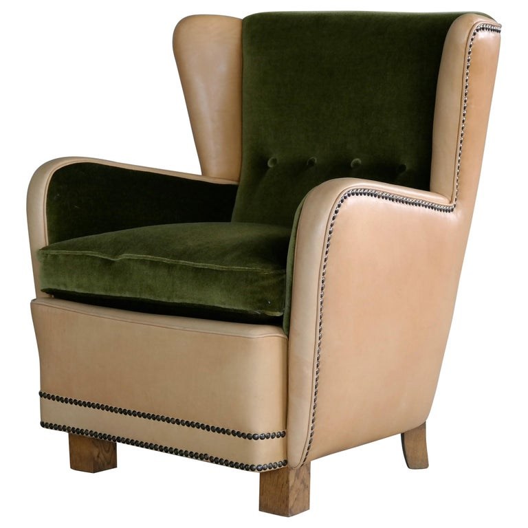 Danish 1940s Fritz Hansen Style Club Chair in Tan Leather with Green Velvet For Sale