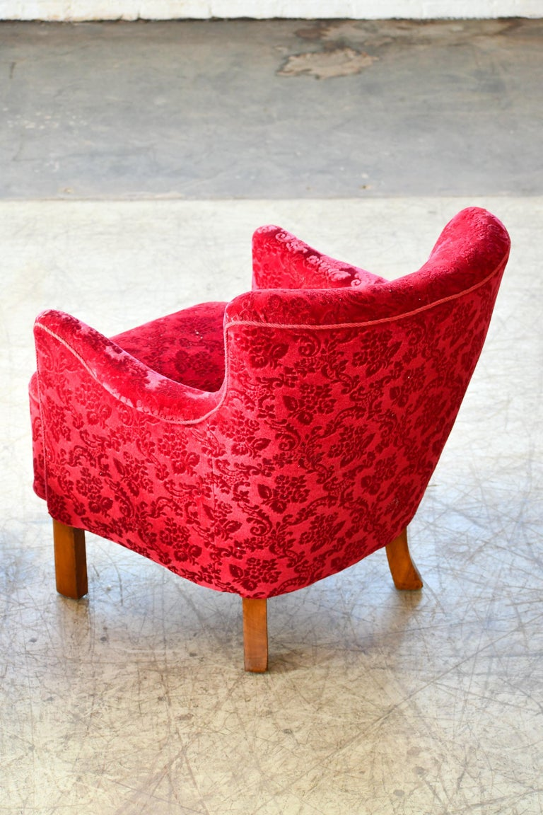 Danish 1940s Fritz Hansen Style Small Scale Lounge Chairs in Red Mohair 5