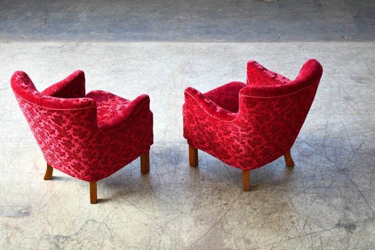 Danish 1940s Fritz Hansen Style Small Scale Lounge Chairs in Red Mohair 6