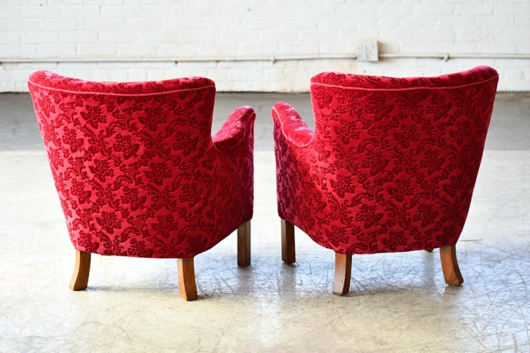 Danish 1940s Fritz Hansen Style Small Scale Lounge Chairs in Red Mohair 7