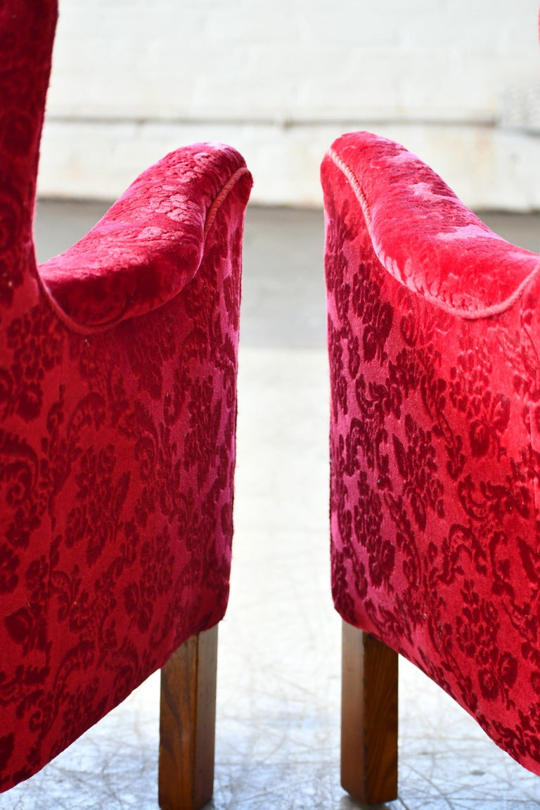 Danish 1940s Fritz Hansen Style Small Scale Lounge Chairs in Red Mohair 8