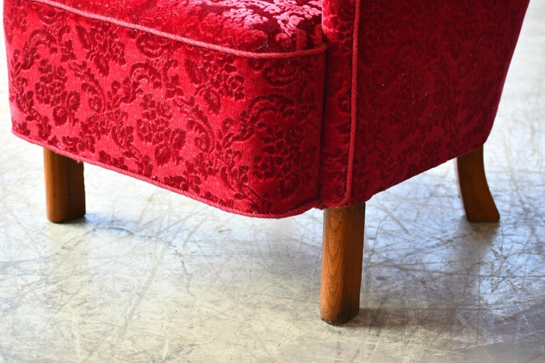 Danish 1940s Fritz Hansen Style Small Scale Lounge Chairs in Red Mohair 2