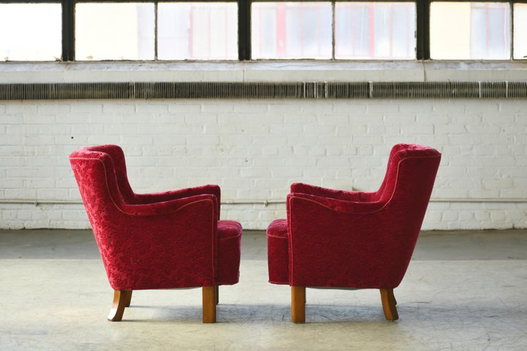 Danish 1940s Fritz Hansen Style Small Scale Lounge Chairs in Red Mohair 3