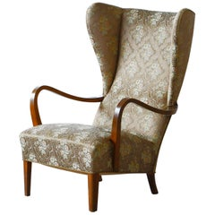 Danish 1940's Fritz Hansen Style Wingback Lounge Chair in with Open Armrest