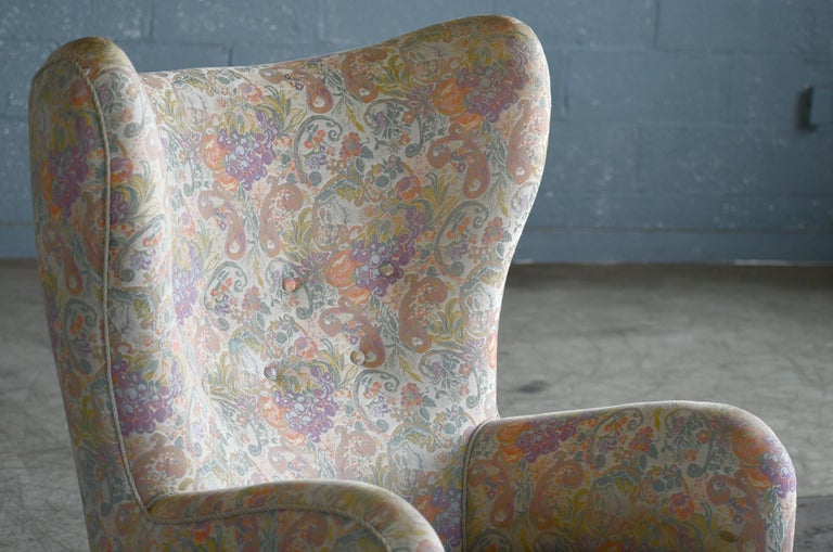 Danish 1940s High Back Lounge Chairs, Attributed to Flemming Lassen In Good Condition For Sale In Bridgeport, CT