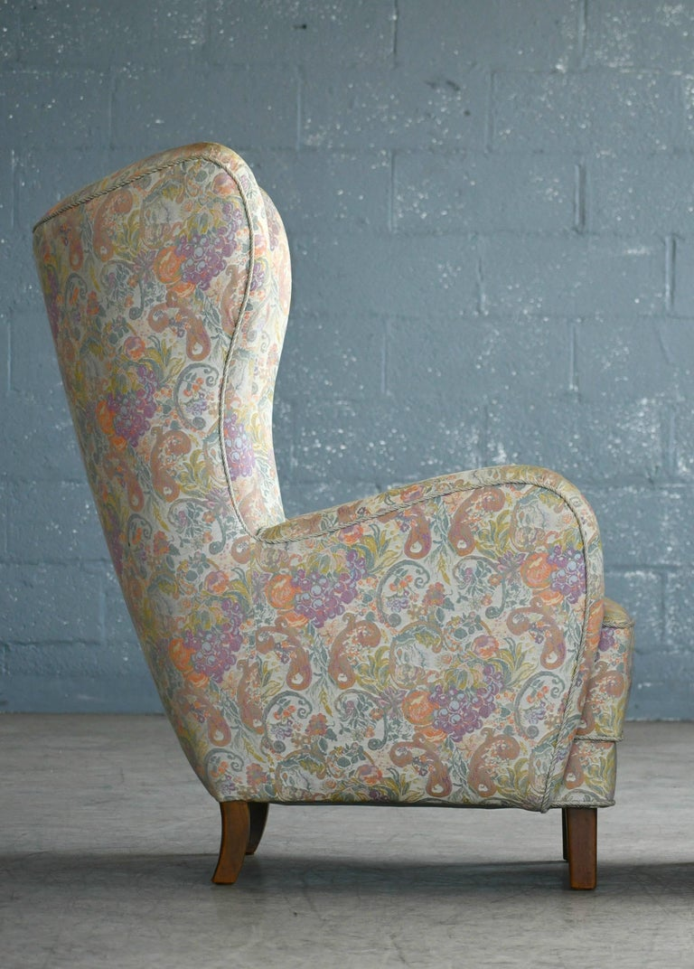 Wool Danish 1940s High Back Lounge Chairs, Attributed to Flemming Lassen For Sale