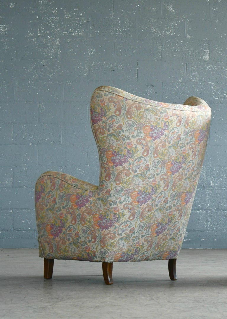 Danish 1940s High Back Lounge Chairs, Attributed to Flemming Lassen For Sale 1