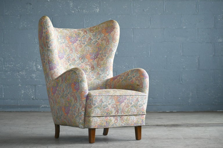 Danish 1940s High Back Lounge Chairs, Attributed to Flemming Lassen For Sale 2
