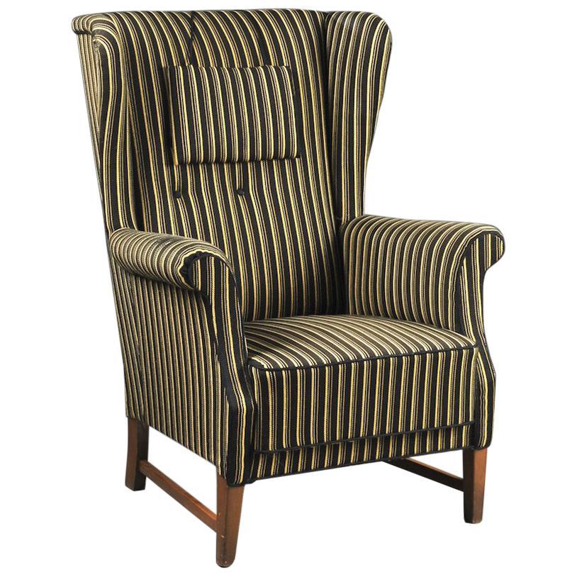 Danish 1940s High Back Wingchair