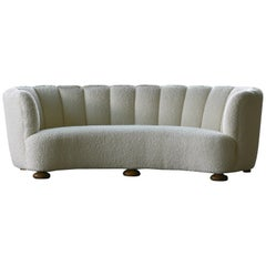 Danish 1940s Large Curved Banana Shape Sofa Newly Re-Upholstered in White Boucle