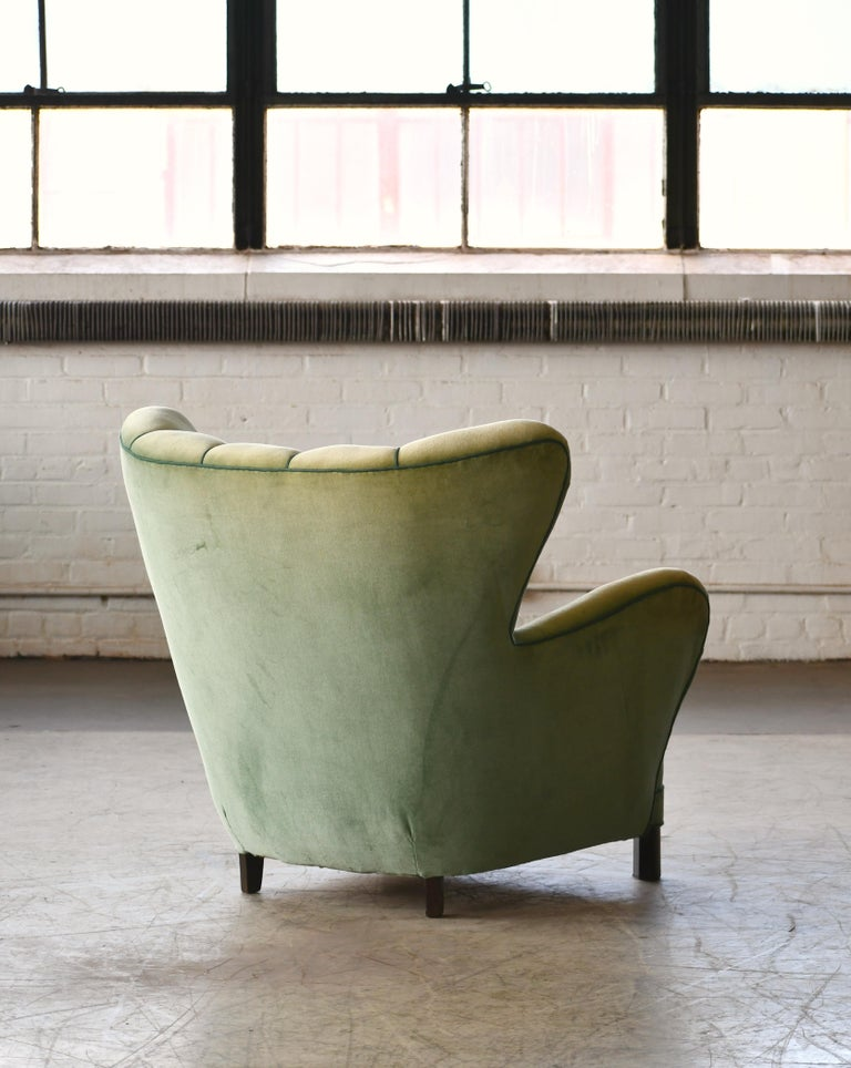 Danish 1940s Lassen Style Easy Chair in Green Mohair Fabric For Sale 6