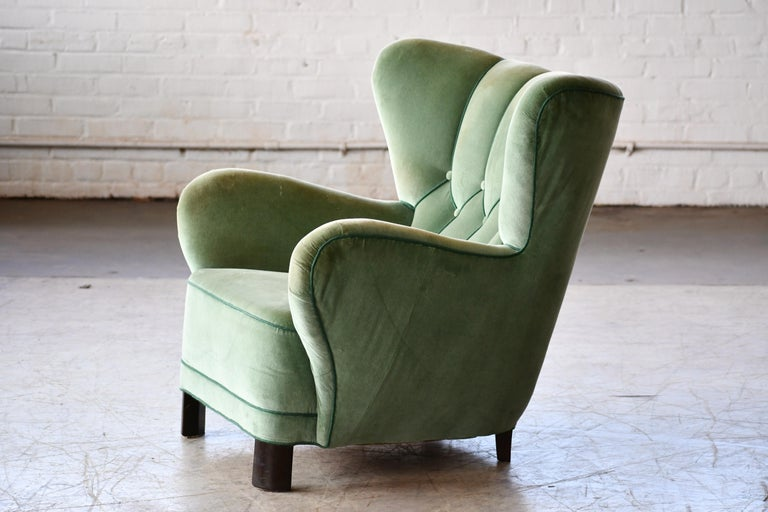 Mid-Century Modern Danish 1940s Lassen Style Easy Chair in Green Mohair Fabric For Sale