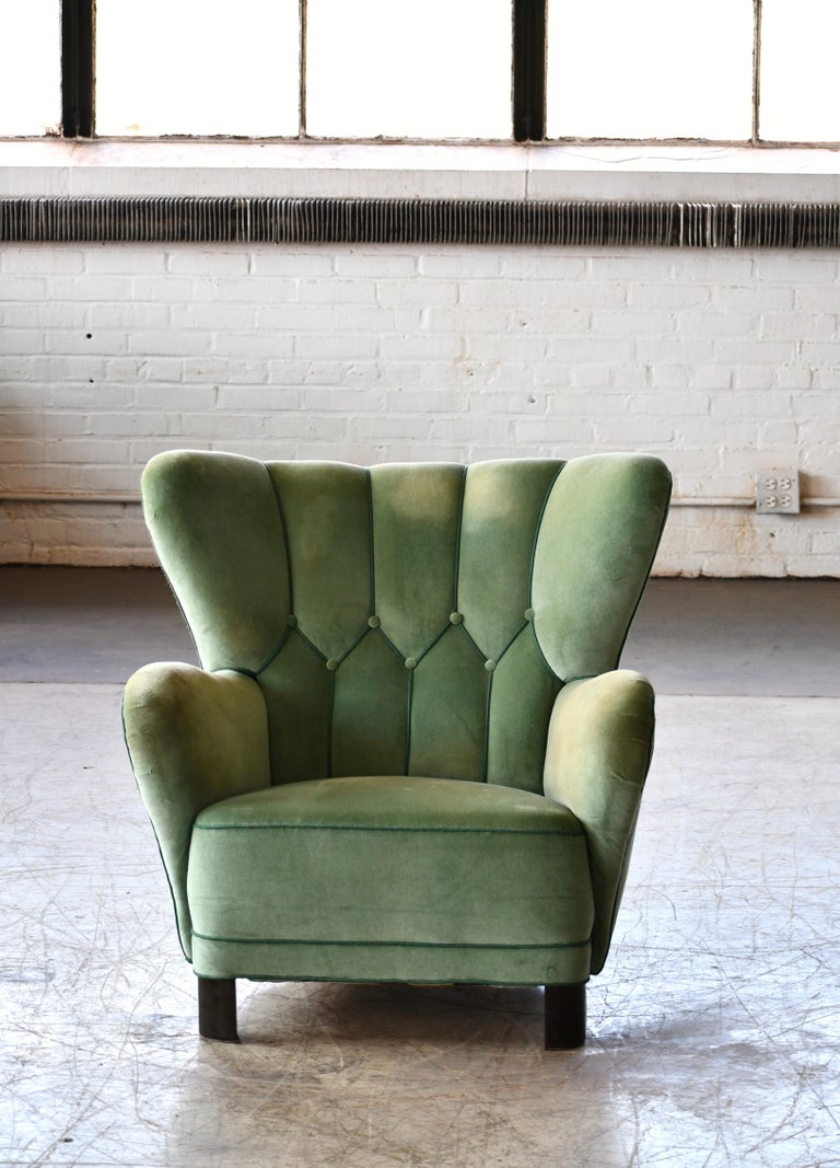 Mid-20th Century Danish 1940s Lassen Style Easy Chair in Green Mohair Fabric For Sale