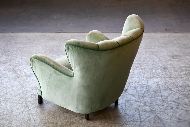 Danish 1940s Lassen Style Easy Chair in Green Mohair Fabric For Sale 3