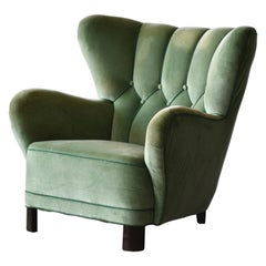 Danish 1940s Lassen Style Easy Chair in Green Mohair Fabric