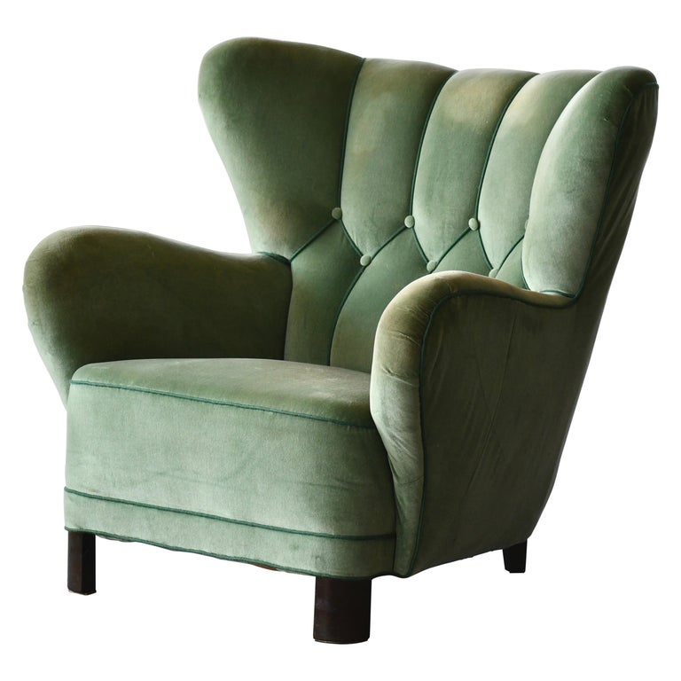 Danish 1940s Lassen Style Easy Chair in Green Mohair Fabric For Sale