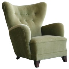 Danish 1940s Lassen the Tired Man Style Easy Chair in Original Mohair Fabric