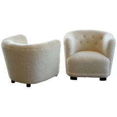 Danish 1940s Lounge or Club Chairs in Lambswool in the Style of Viggo Boesen